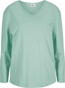 Zielona bluzka bonprix z bawełny z dekoltem w kształcie litery v