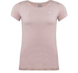 Różowy t-shirt darcet z krótkim rękawem w sportowym stylu