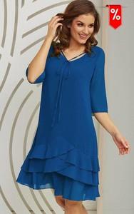 Niebieska sukienka Kaskada mini z długim rękawem