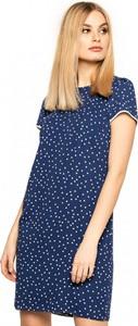 Granatowa sukienka L'AF z krótkim rękawem w stylu casual midi