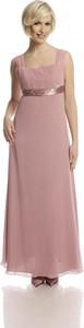 Różowa sukienka Fokus maxi z okrągłym dekoltem z przeźroczystą kieszenią
