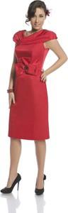 Czerwona sukienka Fokus w stylu klasycznym z rubinem