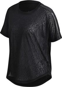 Czarna bluzka Adidas w sportowym stylu z dzianiny