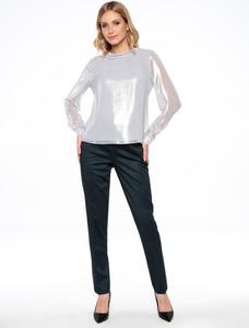 Srebrna bluzka POTIS & VERSO z tkaniny z długim rękawem