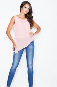 Różowa bluzka Figl w stylu casual z okrągłym dekoltem