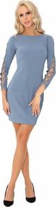 Niebieska sukienka MERRIBEL mini ołówkowa z długim rękawem