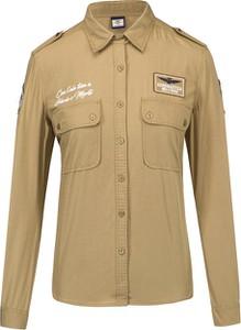 Koszula Aeronautica Militare z długim rękawem w militarnym stylu z kołnierzykiem