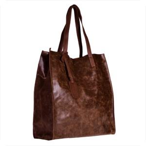 Brązowa torebka Vera Pelle ze skóry duża na ramię