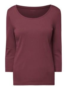 Czerwona bluzka Montego z długim rękawem z bawełny z okrągłym dekoltem