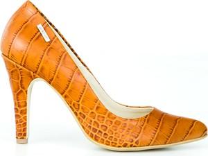 Pomarańczowe szpilki Zapato w stylu klasycznym z nadrukiem