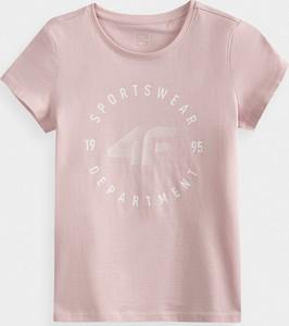 Różowa bluzka dziecięca 4F dla dziewczynek z krótkim rękawem