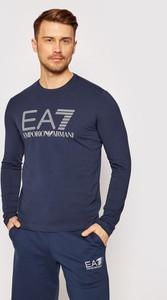 Niebieska koszulka z długim rękawem Emporio Armani z długim rękawem z bawełny w młodzieżowym stylu