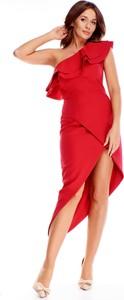 Czerwona sukienka Vegas asymetryczna