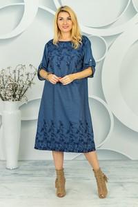 Niebieska sukienka Made in Italy midi w stylu casual z jeansu