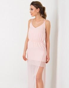 Różowa sukienka Flawdress z dekoltem w kształcie litery v na ramiączkach