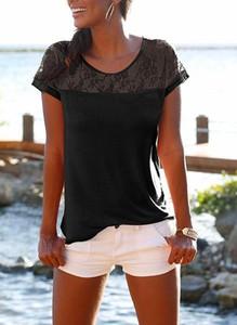 Czarna bluzka Sandbella z krótkim rękawem