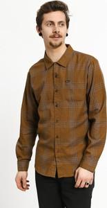 Brązowa koszula Brixton z żakardu z długim rękawem