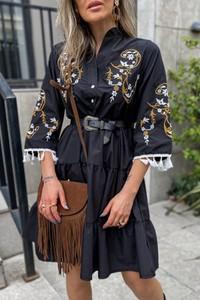 Czarna sukienka IVET z długim rękawem