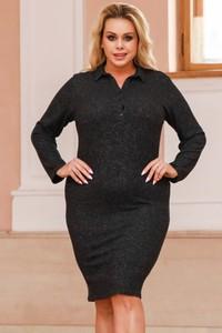 Czarna sukienka KARKO ołówkowa z długim rękawem