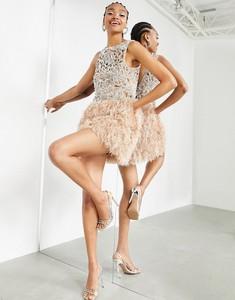Sukienka Asos mini z okrągłym dekoltem bez rękawów