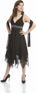Czarna sukienka Fokus asymetryczna midi w stylu glamour