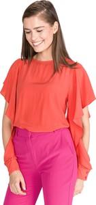Czerwona bluzka Pinko z jedwabiu z okrągłym dekoltem