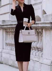 Czarna sukienka Cikelly z długim rękawem z dekoltem w kształcie litery v