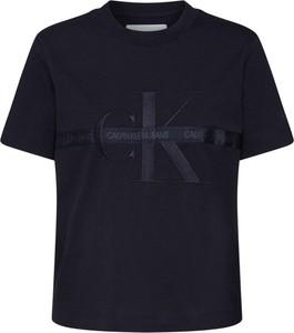 T-shirt Calvin Klein z okrągłym dekoltem z dżerseju