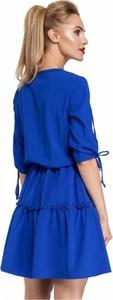 Niebieska sukienka MOE z tkaniny mini z długim rękawem