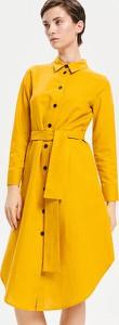 Żółta sukienka Reserved w stylu casual z bawełny z długim rękawem