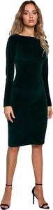 Zielona sukienka MOE midi z długim rękawem ołówkowa