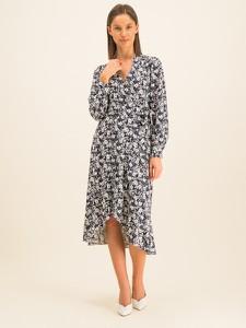 Sukienka Ralph Lauren z dekoltem w kształcie litery v z długim rękawem midi