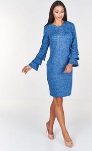 Niebieska sukienka Fokus midi ołówkowa