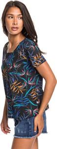 Bluzka Roxy z bawełny z dekoltem w kształcie litery v z krótkim rękawem