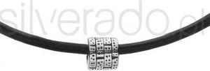 Silverado minimalistyczny naszyjnik w kolorze czarnym z naturalnego rzemienia - 77-wa275b