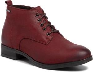 Czerwone botki Lasocki sznurowane z płaską podeszwą w stylu casual