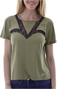 Zielona bluzka Guess z krótkim rękawem
