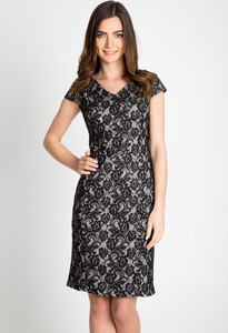Sukienka QUIOSQUE z krótkim rękawem mini z dekoltem w kształcie litery v