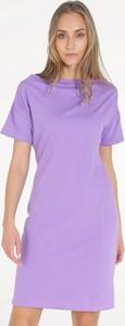 Fioletowa sukienka Unisono w stylu casual mini z bawełny