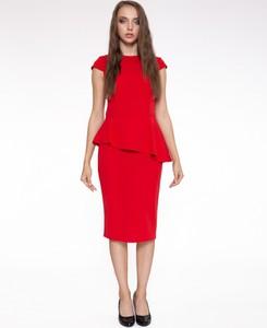 Czerwona sukienka 4myself midi z okrągłym dekoltem