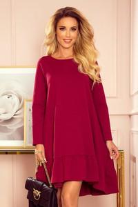 Czerwona sukienka NUMOCO z długim rękawem mini z bawełny