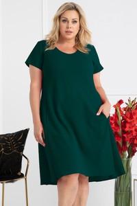 Zielona sukienka KARKO z krótkim rękawem z dekoltem w kształcie litery v trapezowa