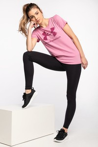Różowa bluzka Under Armour z okrągłym dekoltem w sportowym stylu