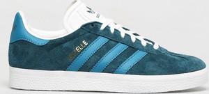 Niebieskie buty sportowe Adidas Originals sznurowane z zamszu