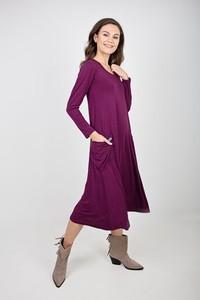 Fioletowa sukienka Easy Peasy w stylu casual midi z długim rękawem