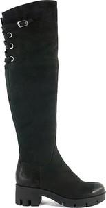 Czarne kozaki Acord za kolano na zamek