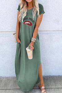 Sukienka IVET z krótkim rękawem maxi