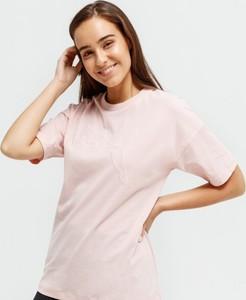 Różowy t-shirt Puma w sportowym stylu z okrągłym dekoltem