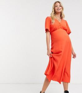 New Look Maternity – Ciemnopomarańczowa koktajlowa sukienka midi-Pomarańczowy