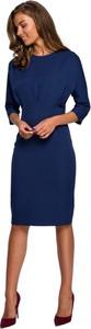 Niebieska sukienka Style midi z tkaniny ołówkowa